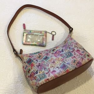 Fossil butterfly stamps leather handbag